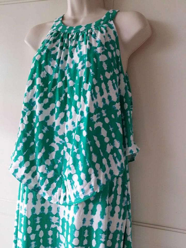 1082f779aac Chico s Green White Tie Dye Popover Long Casual Maxi Dress Size 12 (L) -  Tradesy