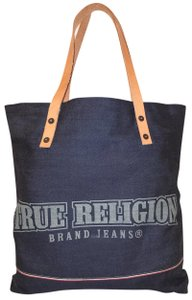 True Religion Nwot Denim Extra-large Leather Trim Tote in Navy