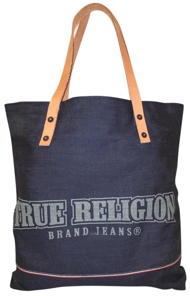 True Religion Nwot Denim Extra Large Leather Trim Tote In Navy