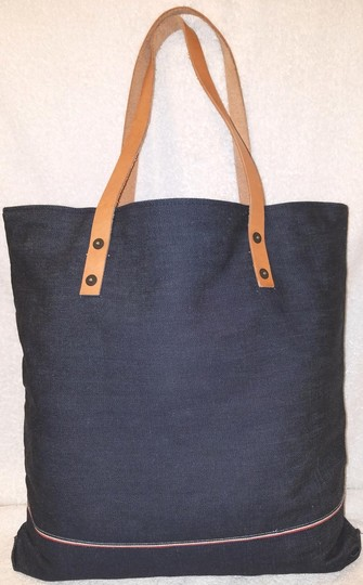 True Religion Nwot Denim Extra-large Leather Trim Tote in Navy Image 1