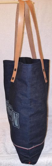 True Religion Nwot Denim Extra-large Leather Trim Tote in Navy Image 2