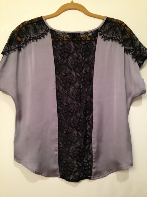 Express Top Light Blue with Black Lace