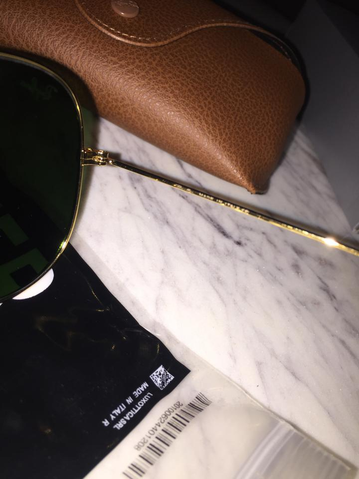 abf7894f05 Ray-Ban Classic Green Black Gold Rb3025 Aviator G-15 Lenses Sunglasses