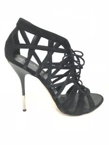 Giuseppe Zanotti Diamond Cut Lace Up Sandal Black Pumps