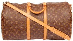 Louis Vuitton Monogram Canvas Leather Duffle Keepall 55 Brown 5525 Travel Bag