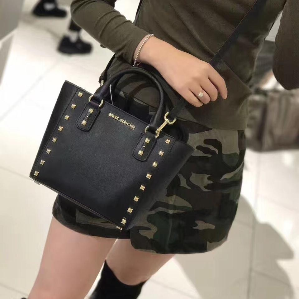 multiple colors choose official best site MICHAEL Michael Kors Saffiano Sandrine Stud Small In Black Leather Cross  Body Bag 37% off retail