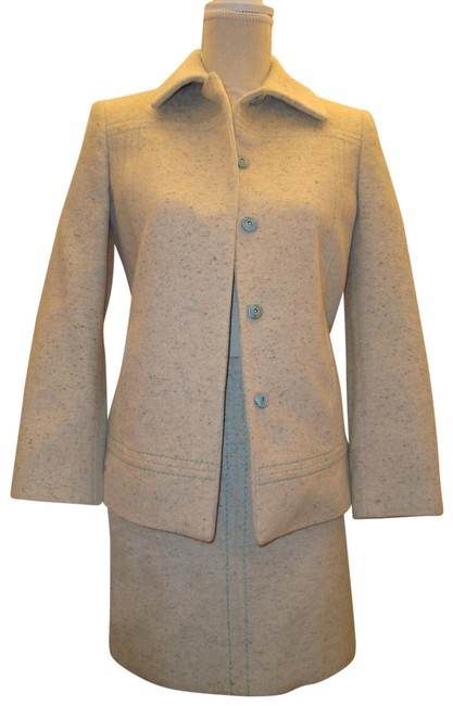 Item - White and Blue Winter Classic Cotton Skirt Suit Size 2 (XS)