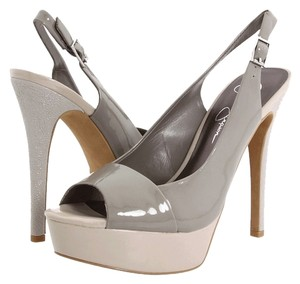 Jessica Simspon Stiletto Peep Toe Patent Leather Slingback Nude Platforms