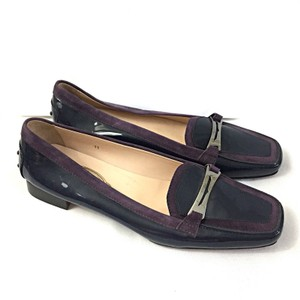 Tod's Patent Leather Suede Navy Flats