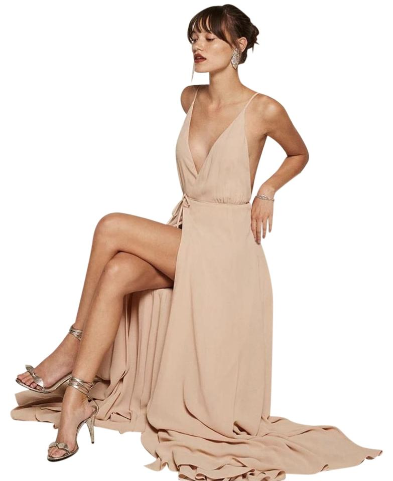 7112fe23af03e1 Reformation Champagne The Callalily Long Formal Dress Size 0 (XS ...