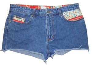 Calvin Klein Denim Cut Off Shorts blue patchwork