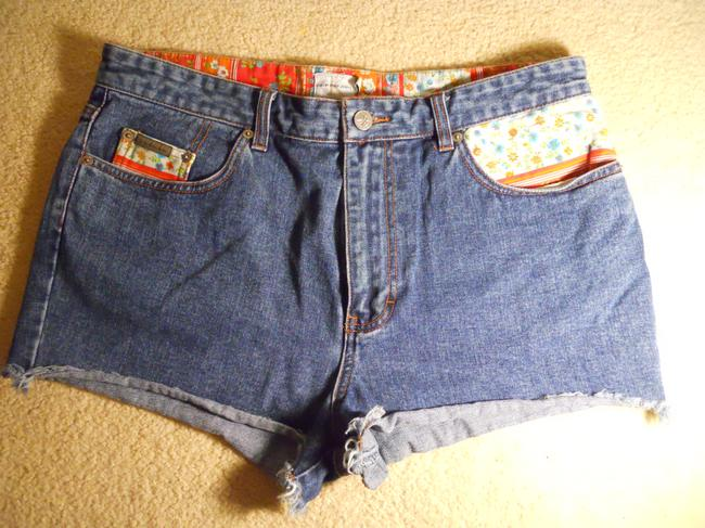 Calvin Klein Cotton Denim Cut Off Shorts blue patchwork