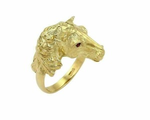 Modern Vintage Ruby Horse Head 18k Yellow Gold Ring