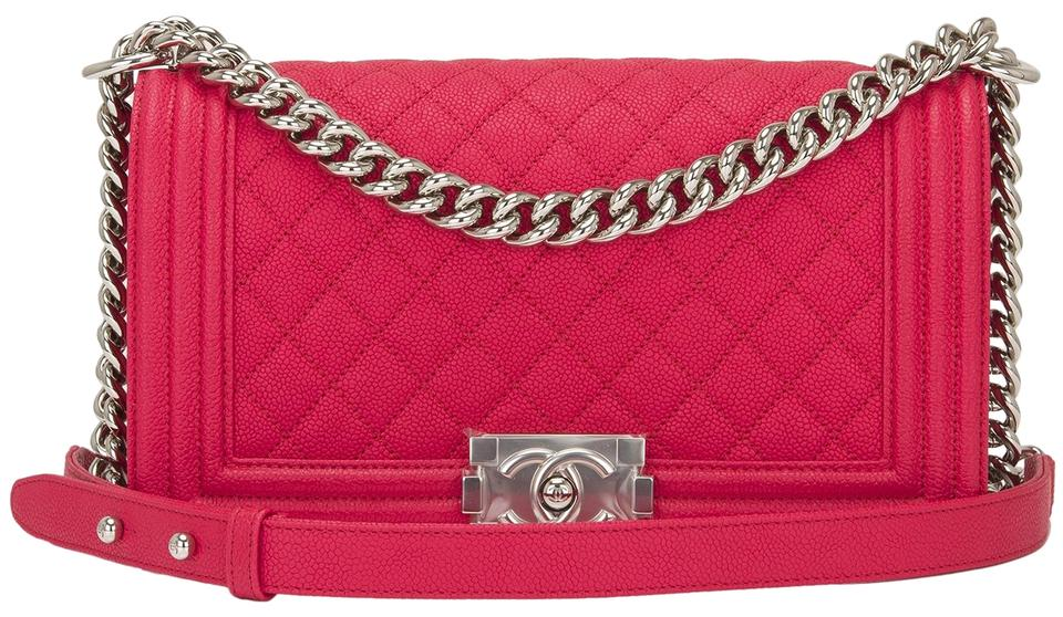 Chanel Boy Quilted Caviar Medium Light Red Leather Shoulder Bag ... 827826f24f859