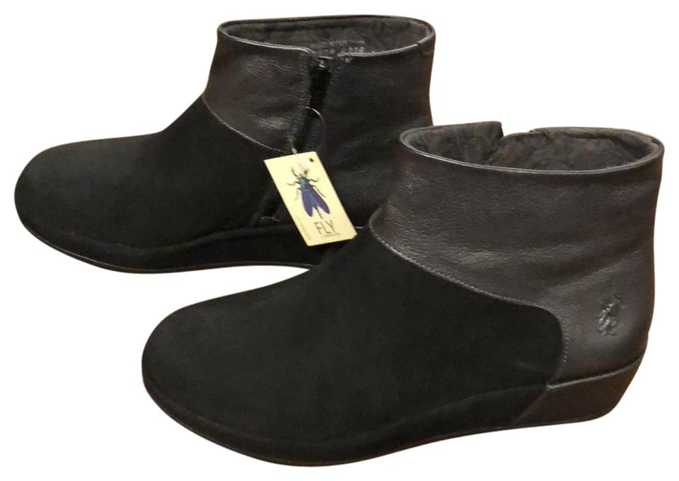 ba0f8f3de48 FLY London Black Leather Suede Boots/Booties Size US 9 Regular (M, B ...