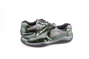 Prada * Americas Cup Patent Sneaker Dark Green Shoes