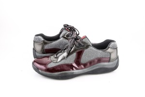 Prada * Americas Cup Patent Sneaker Dark Red / Dark Grey Shoes