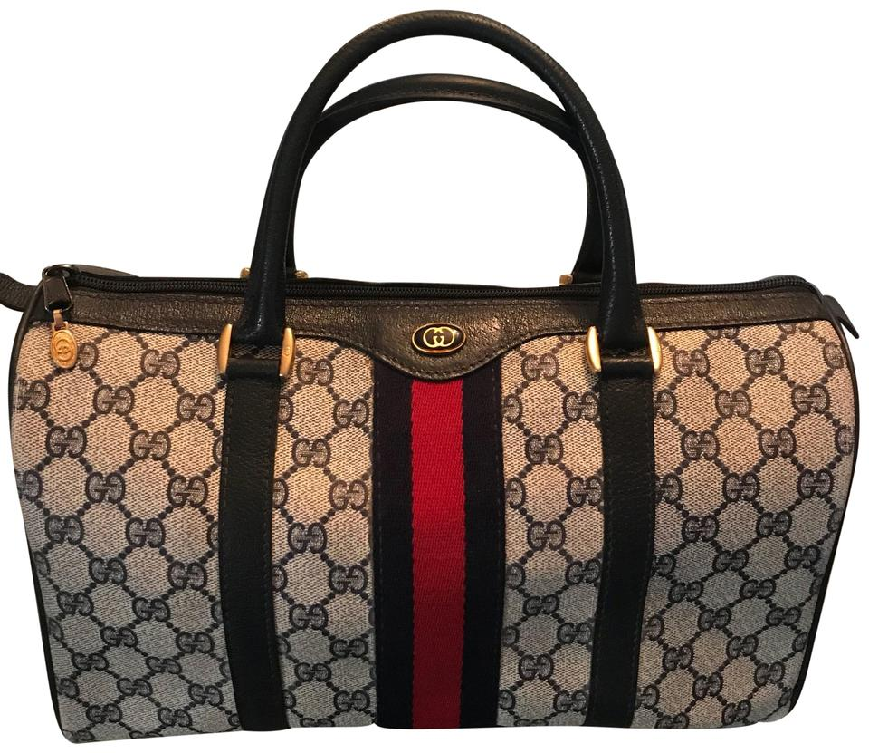4ae8551dad02 Gucci Boston Vintage Dr Large Navy Blue Leather Gg Supreme Monogram Canvas  Satchel