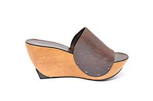 Robert Clergerie Leather Wood Wedge Brown Mules