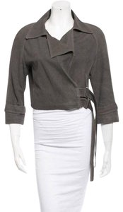 Jenni Kayne Cropped Grayjacket Gray Leather Jacket