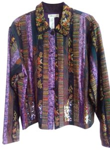 Coldwater Creek Sequin Trim Button Down Fully Lined purple, black, floral Blazer