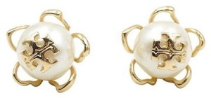 Tory Burch NEW Tory Burch Crystal Pearl Gold Plated Logo Flower Studs Earrings