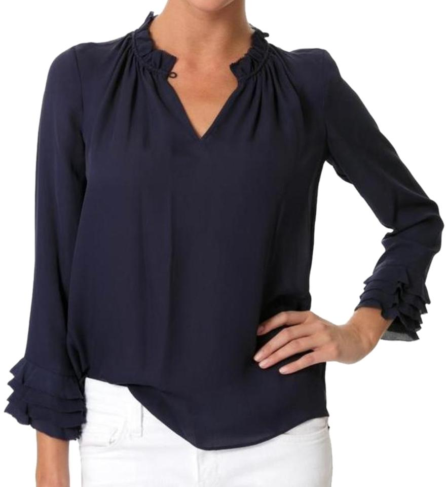 1ca9cd8a4aaca Rebecca Taylor Midnight-navy Blue Silk Double Georgette Ruffle Blouse