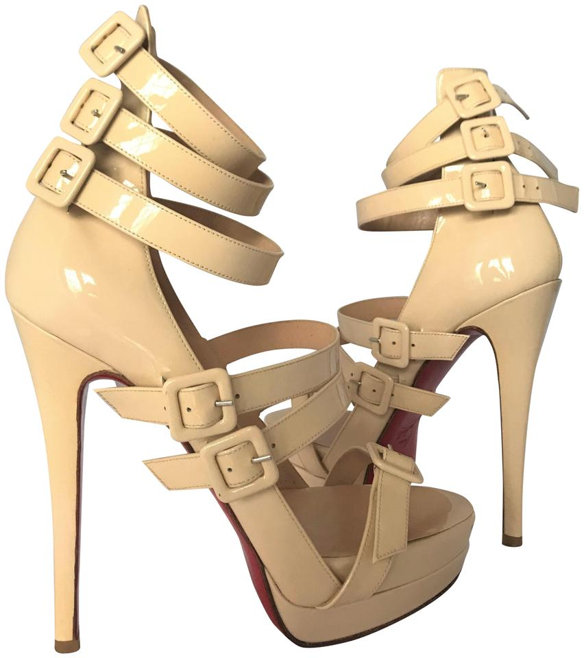 32377e93b8ba Christian Louboutin Beige Differa Patent 39it Platform High Heel Lady Red  Ankle Strap Toe Pump Sandals. Size  EU 39 (Approx. US 9) Regular ...
