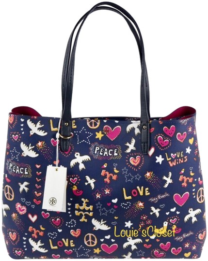 Tory Burch Tote in Navy Peace Print Image 0