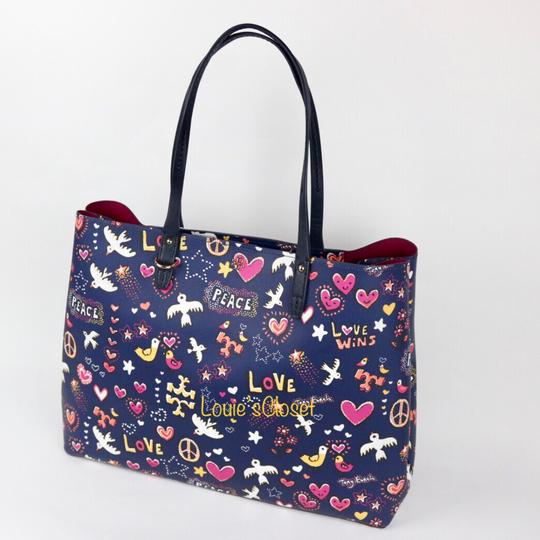 Tory Burch Tote in Navy Peace Print Image 2