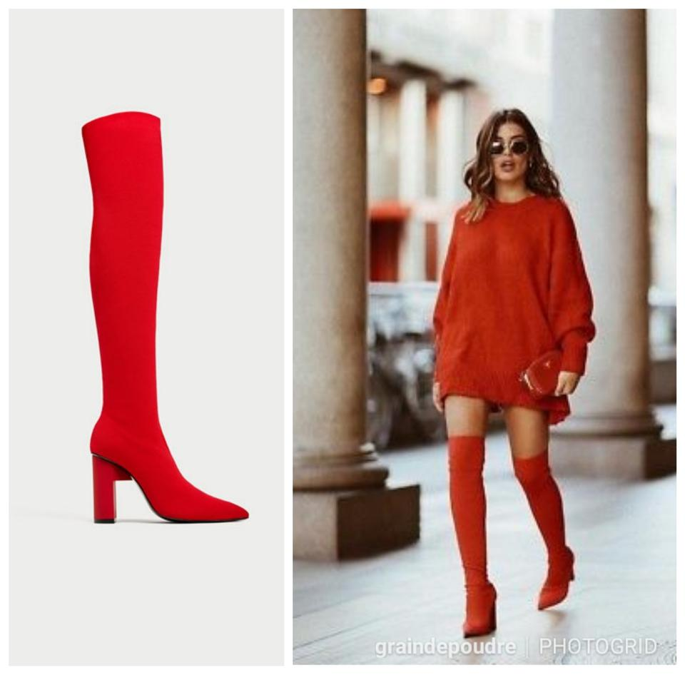 74f3d32e1 Zara Bright Red Tall Elastic Stretch Knit 5003/201 Boots/Booties ...