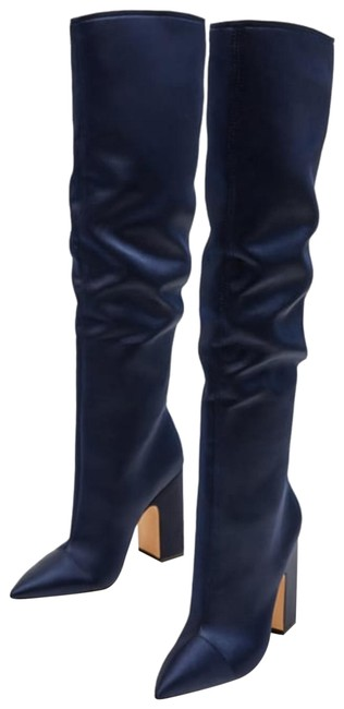 Item - Navy Blue Sateen Satin 5004/201 Boots/Booties Size EU 40 (Approx. US 10) Regular (M, B)