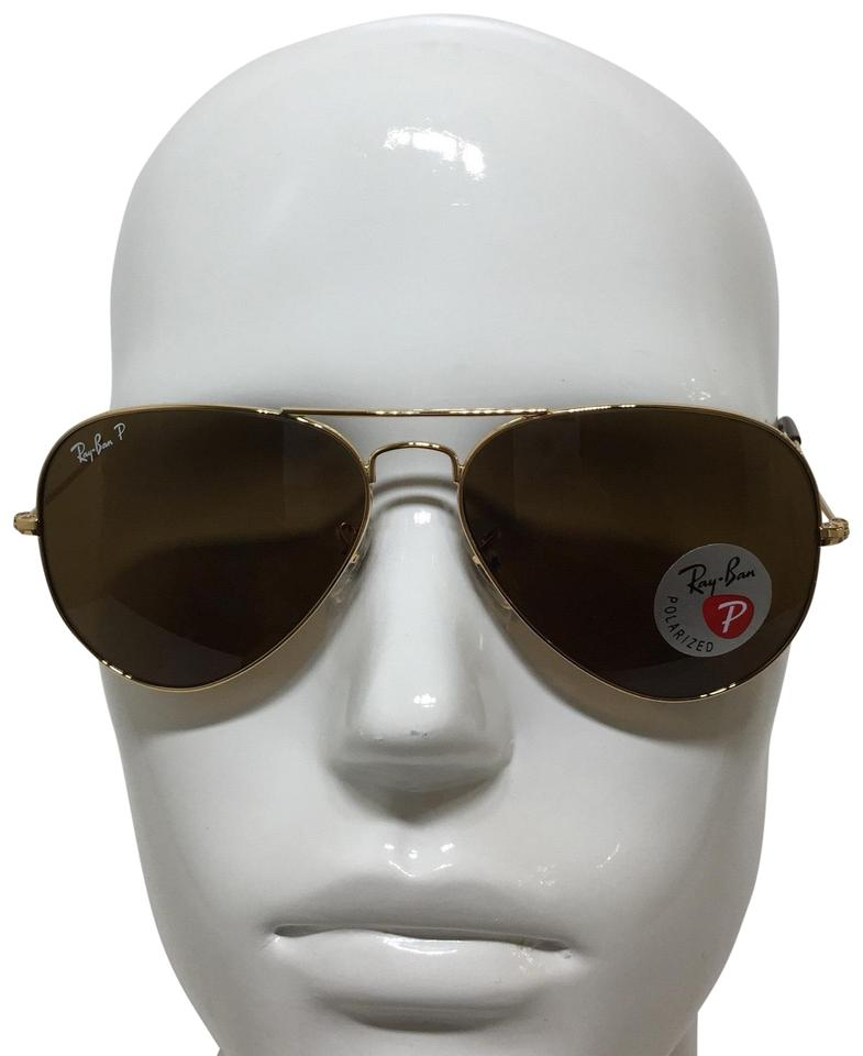 b2838e19d422e Ray-Ban Gold Rb 3025 001 57 Aviator Brown Polarized 58mm Sunglasses ...