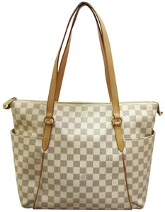 Louis Vuitton Lv Damier Azur Totally Mm Canvas Tote in White