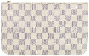 Louis Vuitton Lv Damier Azur Neverfull Pouch Canvas white Clutch