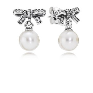 PANDORA Delicate Sentiments Drop Earrings, White Pearl & Clear CZ