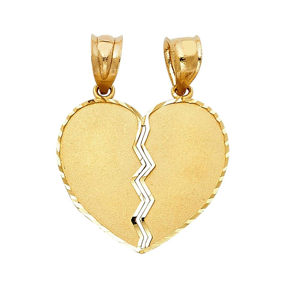 a1c44dbb7f Top Gold & Diamond Jewelry Yellow Gold 14K Couple Broken Heart Pendant  Image 0 ...