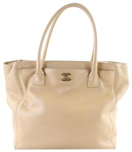 Chanel Gst Cerf Serf Executive Timeless Tote in Beige