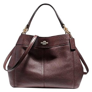 Coach Leather Tags New Edde Large Satchel in OXBLOOD