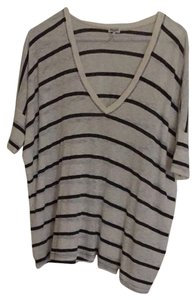 Splendid T Shirt White And Navy Blue Striped
