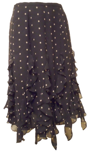 Item - Black & Light Tan Silk Ruffle Skirt Size 6 (S, 28)