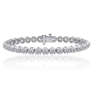 11.05 Ct E-f/vs-1 Round Natural Diamond Tennis Bracelet Set In 14k White Gold