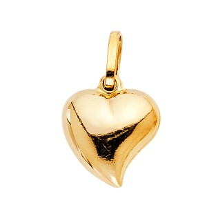 Top Gold & Diamond Jewelry Mini Whimsical Puffed Heart Pendant in 14K Yellow Gold