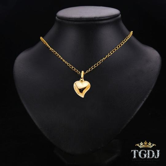 Top Gold & Diamond Jewelry Mini Whimsical Puffed Heart Pendant in 14K Yellow Gold Image 2