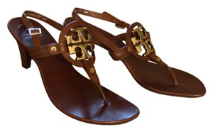 Tory Burch Leather Kitten Thong Slingback Gold Hardware Logo Miller Reva Holly Holly 2 Brown Sandals