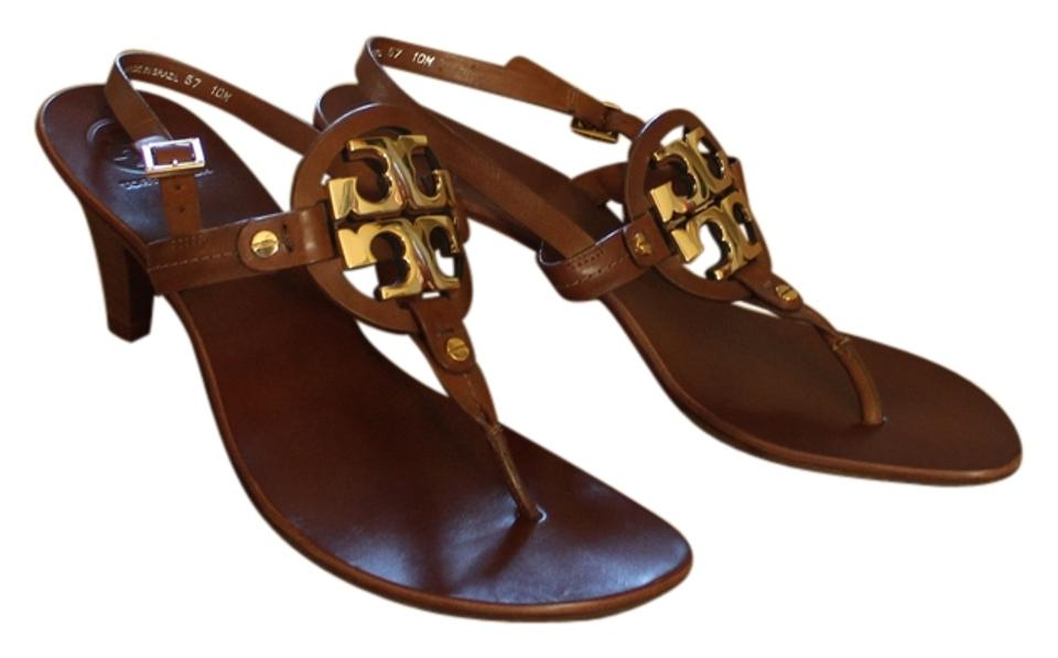 70eafc1446b Tory Burch Leather Kitten Thong Slingback Gold Hardware Logo Miller Reva Holly  Holly 2 Brown Sandals ...