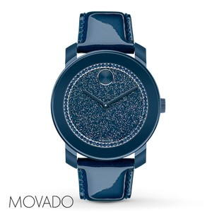 Movado Movado Patent Leather Strap Bold 3600229 Pave Crystal Watch