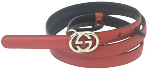"""Gucci Gucci GG Buckle Thin Leather Belt 34""""-38"""" (95) #370552"""