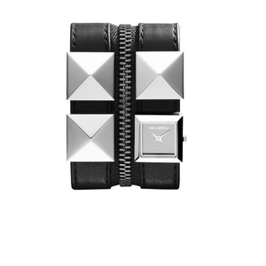 Karl Lagerfeld Karl Lagerfeld Black Leather Double Strap Bracelet Watch KL2003