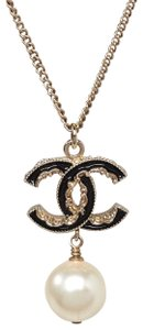 Chanel Chanel Black Enamel CC Faux Pearl Necklace